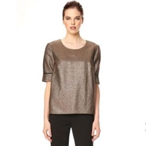 FRENCH CONNECTION METALLIC SHORT SLEEVE BLOUSE 4